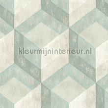 3d stacked cubics turquoise behang Dutch Wallcoverings Reclaimed FD22310