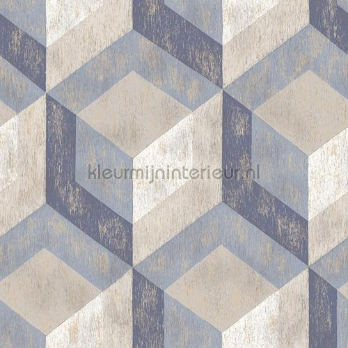 3d stacked cubics blue tapet FD22311 Reclaimed Dutch Wallcoverings
