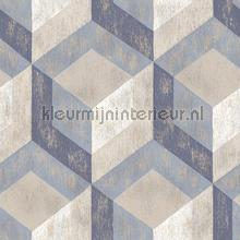 3d stacked cubics blue papier peint Dutch Wallcoverings Reclaimed FD22311