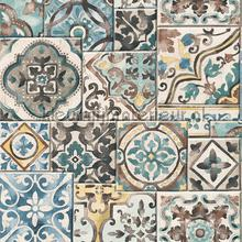 Old tiles coloured papier peint Dutch Wallcoverings Reclaimed FD22315