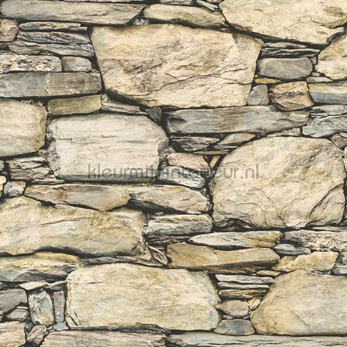 Stacked stones beige grey tapet FD22317 Reclaimed Dutch Wallcoverings