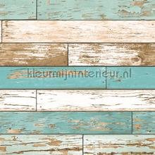 Wooden strokes turquoise behang Dutch Wallcoverings Reclaimed FD22318