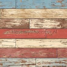 Wooden strokes red blue behang Dutch Wallcoverings Reclaimed FD22319