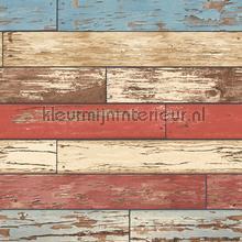 Wooden strokes red blue carta da parati Dutch Wallcoverings Reclaimed FD22319