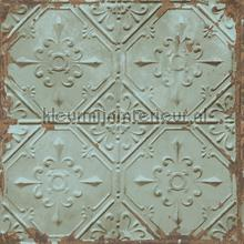 Old tin ceilingtiles aqua tapet FD22331 Reclaimed Dutch Wallcoverings
