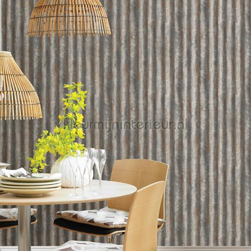 Corrugated iron grey tapet FD22333 Reclaimed Dutch Wallcoverings