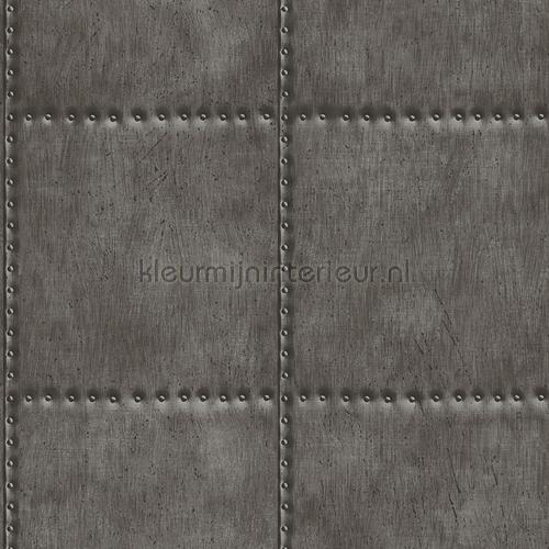 Metal plate with nails darkgrey tapet FD22342 Reclaimed Dutch Wallcoverings