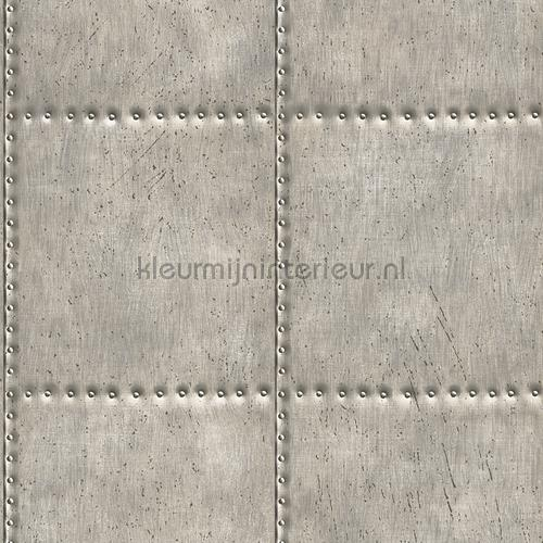 Metal plate with nails grey tapet FD22343 Reclaimed Dutch Wallcoverings