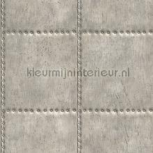 Metal plate with nails grey papier peint Dutch Wallcoverings Reclaimed FD22343