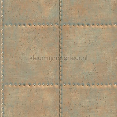 Oxidized metal plate with nails tapet FD22344 Reclaimed Dutch Wallcoverings