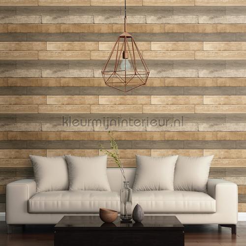 Horizontal wood brown tapet FD22346 Reclaimed Dutch Wallcoverings