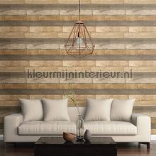 Horizontal wood greyish brown behang Dutch Wallcoverings hout