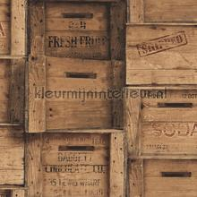 Wooden boxes brown papier peint Dutch Wallcoverings Reclaimed FD22348
