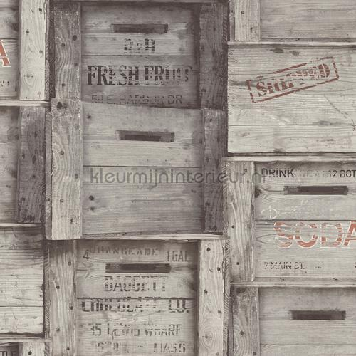 Wooden boxes grey tapet FD22349 Reclaimed Dutch Wallcoverings