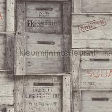 Wooden boxes grey papier peint Dutch Wallcoverings Reclaimed FD22349