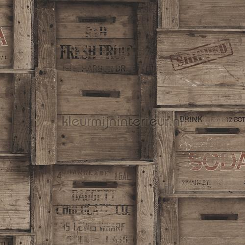 Wooden boxes greyish brown tapet FD22350 Reclaimed Dutch Wallcoverings