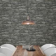 Slate brownish grey behang Dutch Wallcoverings Stenen