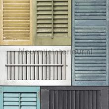 Shutters collage mural papier murales Dutch Wallcoverings structures