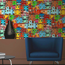 Kleurrijke huisjes behang Dutch Wallcoverings fantasie
