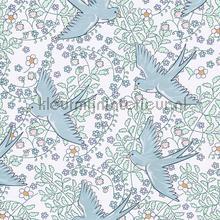 Zwaluw patroon wit blauw behang Eijffinger Rice 359020