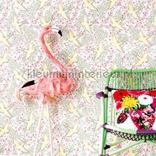 Zwaluw patroon roze geel behang Eijffinger Trendy Hip