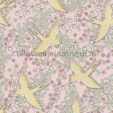 Zwaluw patroon roze geel behang Eijffinger Rice 359021