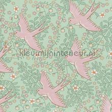 Zwaluw patroon mint roze behang Eijffinger Rice 359022