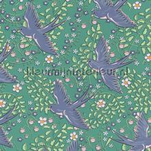 Zwaluw patroon groen blauw behang Eijffinger Rice 359023