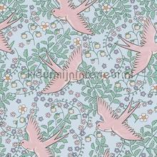 Zwaluw patroon licht blauw roze behang Eijffinger Rice 359024