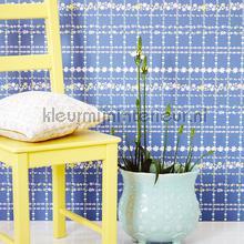 Bloemenruit blauw behang Eijffinger Trendy Hip