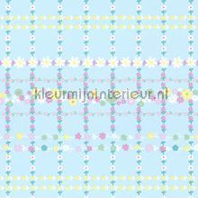 Bloemenruit licht blauw behang Eijffinger Rice 359032
