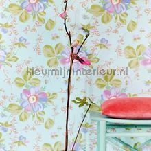 Pastel bloem licht turquoise behang Eijffinger romantisch modern