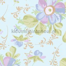 Pastel bloem licht turquoise behang Eijffinger Rice 359041