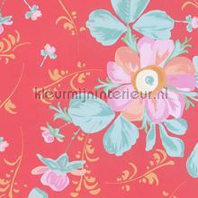 Pastel bloem op zacht rood behang Eijffinger Rice 359043