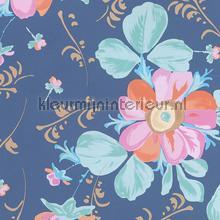Pastel bloem blauw behang Eijffinger Rice 359044