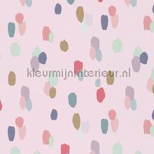 Gekleurde tips op licht roze behang Eijffinger Rice 359051