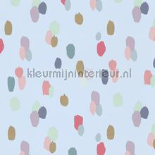 Gekleurde tips op lichtblauw behang Eijffinger Rice 359053