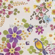 Vogels met parelmoer achtergrond behang Eijffinger Rice 359070
