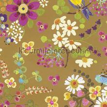 Vogels met gouden achtergrond behang Eijffinger Rice 359071
