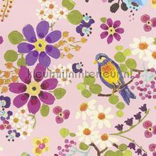 Vogels met licht roze achtergrond behang Eijffinger Rice 359072
