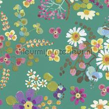 Vogels met aqua groen achtergrond behang Eijffinger Rice 359073