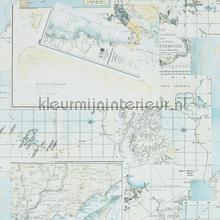Avontuurlijke atlaskaart turquoise tapeten BN Wallcoverings Trendy