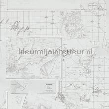 Avontuurlijke atlaskaart grijs tapeten BN Wallcoverings Trendy