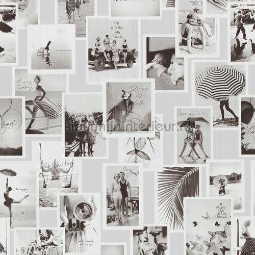 Nostalgische fotocollage grijstinten tapet 18280 nostalgisk BN Wallcoverings