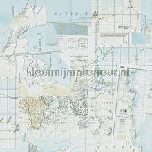 Antieke wereldkaart turquoise tapet BN Wallcoverings Riviera Maison 18390