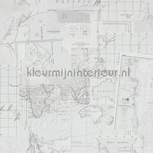 Antieke wereldkaart grijs tapet BN Wallcoverings Riviera Maison 18391