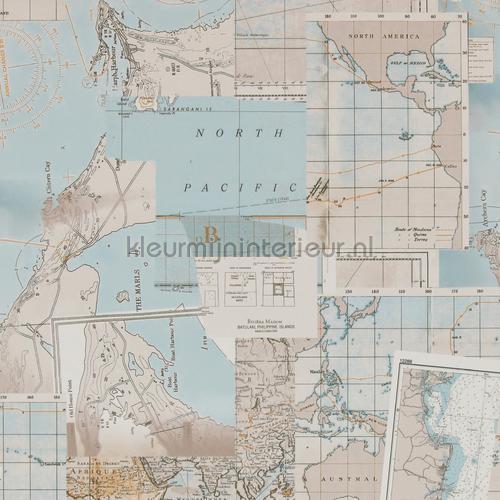 Antieke wereldkaart tapet 18392 nostalgisk BN Wallcoverings