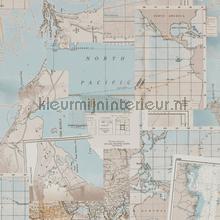 Antieke wereldkaart wallcovering BN Wallcoverings Vintage- Old wallpaper