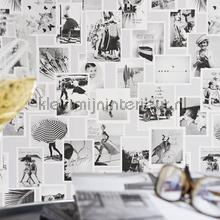 Nostalgische fotocollage grijstinten tapet BN Wallcoverings Vintage Gamle