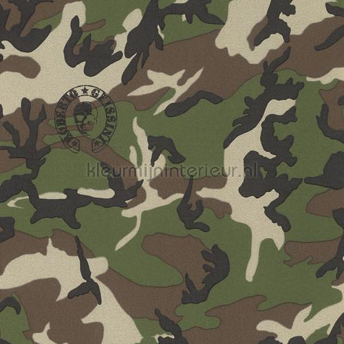 Camouflage Leger Behang Wallcovering  Boys Rasch